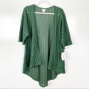 Lularoe | NEW Lindsay Solid Green Sweater Kimono S